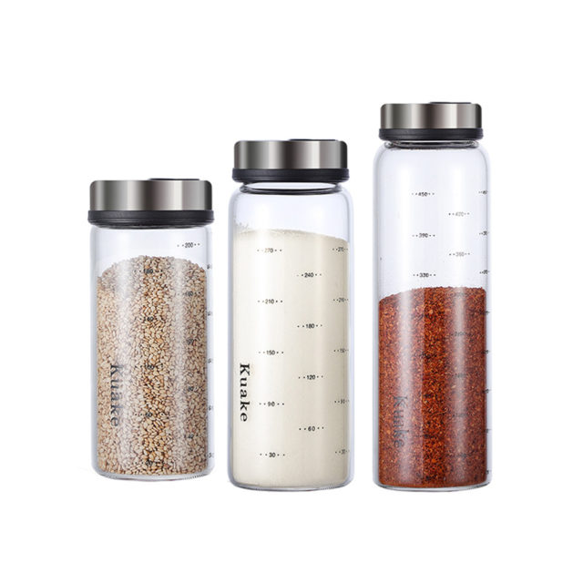 Holaroom High Borosilicate Glass Seasoning Can Salt Sesame Solid Condiment Seal Bottle Pepper Spice Shaker With Rotary Lid