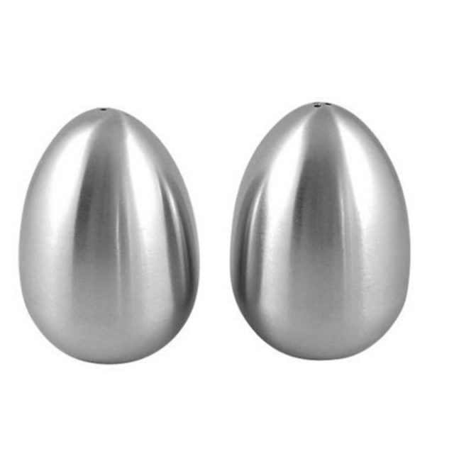 2 Pieces Stainless Steel Pepper Shaker Egg Shaped Salt Shaker Set