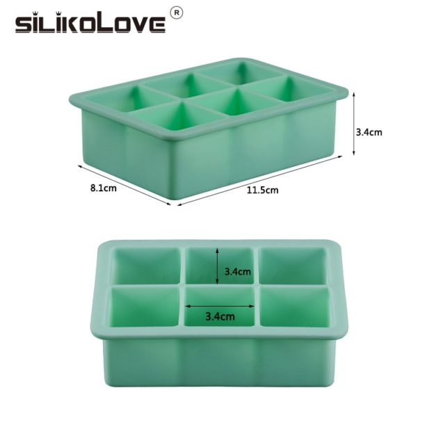SILIKOLOVE 6 Cavity 3d magic large silicone ice cube maker mold  Square DIY Fruit ice Maker Kitchen Bar Drinking Accesoriess