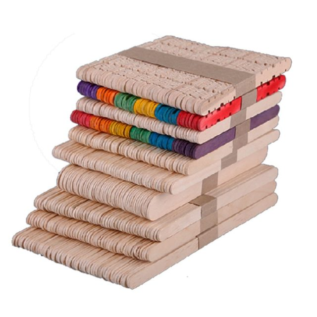 Multi Size Natural Wood & Colorful Wooden Popsicle Ice Cream Sticks For Kids DIY Hand Crafts Art Bookmarks Home Decor 50pcs/lot
