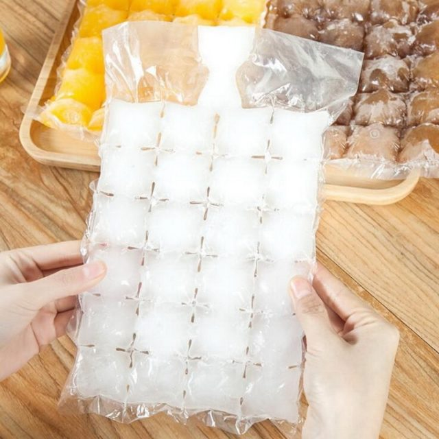 10 pcs Disposable Ice Frozen Lattic Bags Self-Sealing Plastic Ice Cubes Tools Ice Mold Drinking Tools