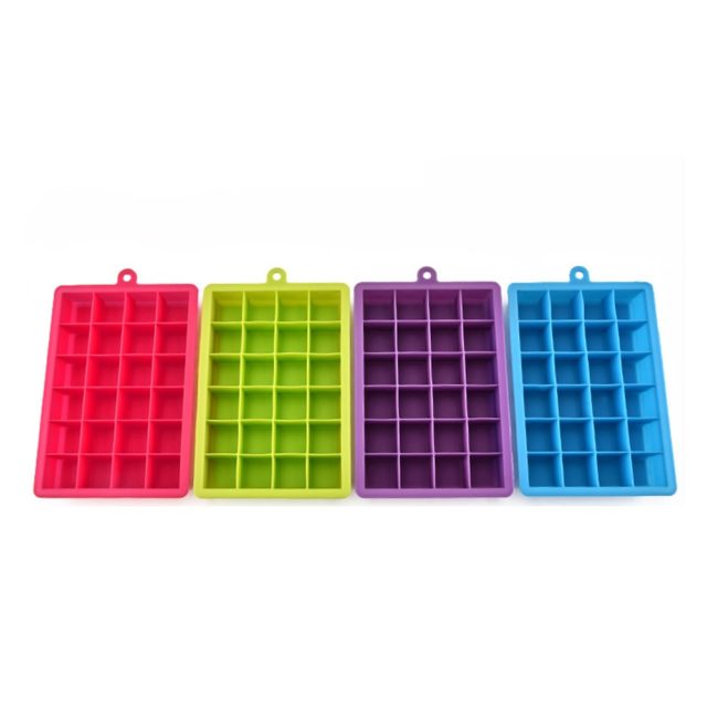 24 Cube Ice Cube Trays Square Silicone Ice Cube Mold Ice Tray Freezer Easy Release Ice Jelly Pudding Maker Mold Bar Kitchen Tool