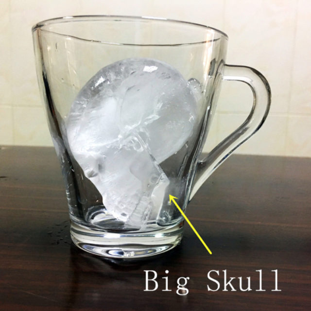 New Big Skull Shape 3D Ice Cube Mold Maker Bar Party Silicone Trays Chocolate Mould with Funnel