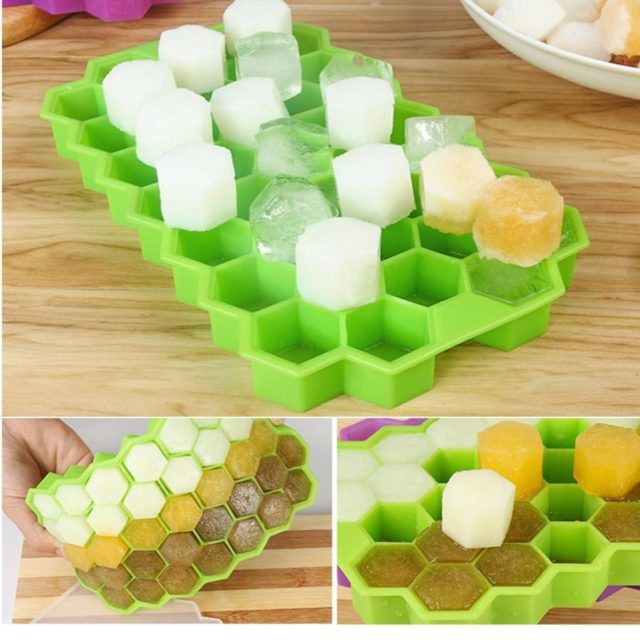 Honeycomb Shape Ice Cube 37 Cubes Ice Tray Ice Cube Mold Storage Containers ice cube tray mold #48
