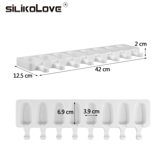 SILIKOLOVE 8 Cavity Ice Cream Mold Makers Silicone Thick material DIY Molds Ice Cube Moulds Dessert Molds Tray With Popsicle