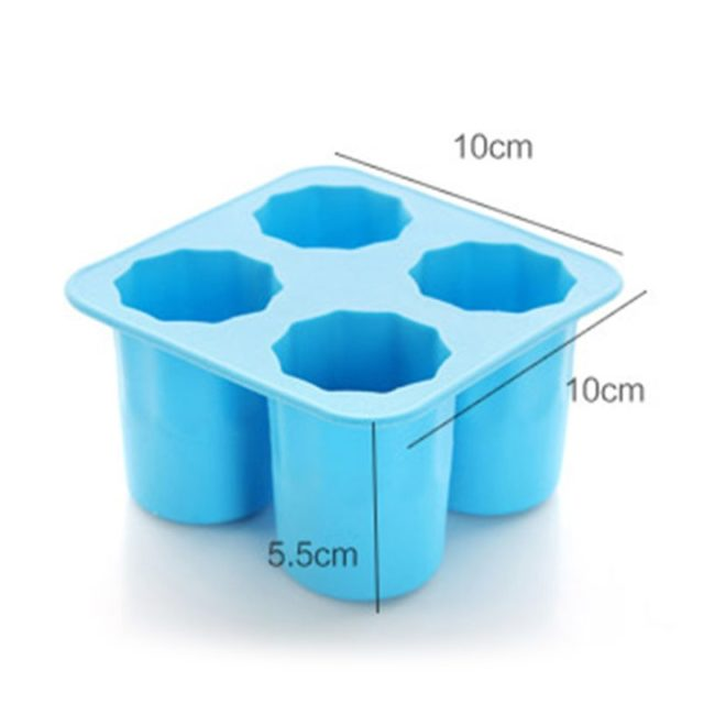 4 Cup Shape Silicone Ice Cube Mold Shooters Shot Glass Ice Mould Ice Cube Tray Summer Bar Party Beer Ice Drink Tool Accessories