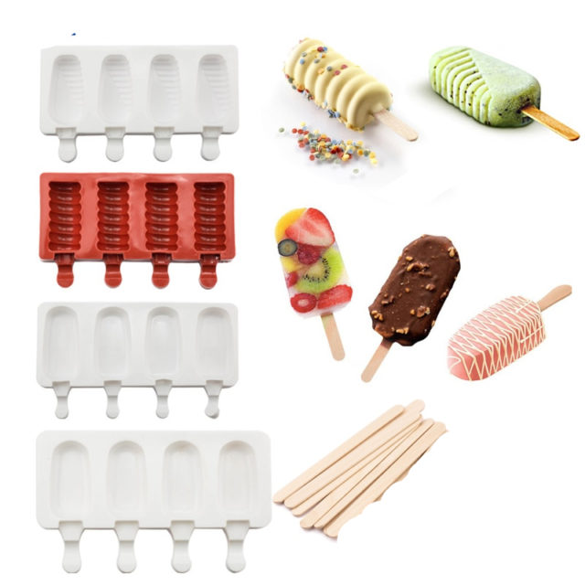 4 Cavities Ice Cream Silicone Mold Popsicle Makers Dessert Form With Wooden Sticks 25pcs DIY Moulds Tray