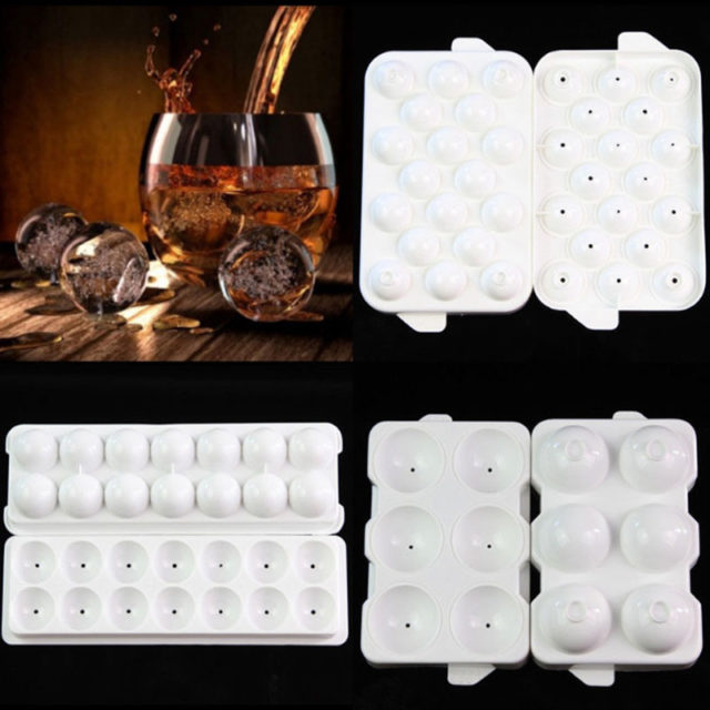 New Safety Plastic Whiskey Ice Ball Cube Maker Tray Sphere Mould Mold Party Brick Round Bar