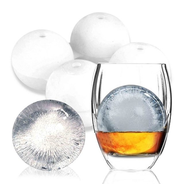 1pc Large Silicone Ice Mold Maker Black Cocktail Whiskey Drink Ice-ball-making Gadget Ice Cube Tray Party/Kitchen/Bar Accessory
