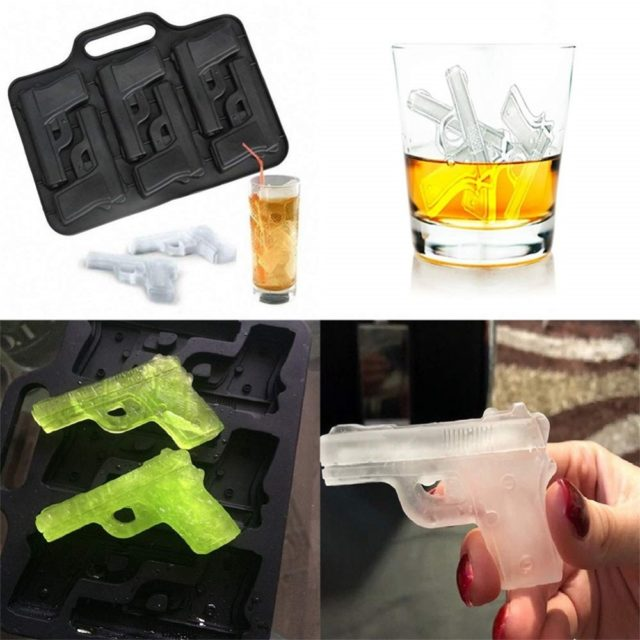 DIY Ice Cube Maker Gun Bullet Shape Ice Cube Tray Silicone Ice Cube Mold Kitchen Bar Party Drinking Accessories