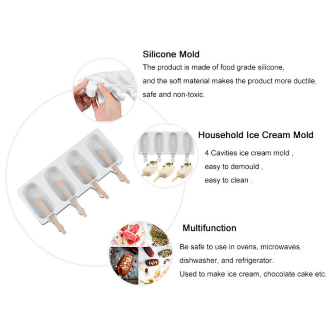Food Safe Silicone Ice Cream Molds 4 Cell Frozen Ice Cube Molds Popsicle Maker DIY Homemade Freezer Ice Lolly Mould