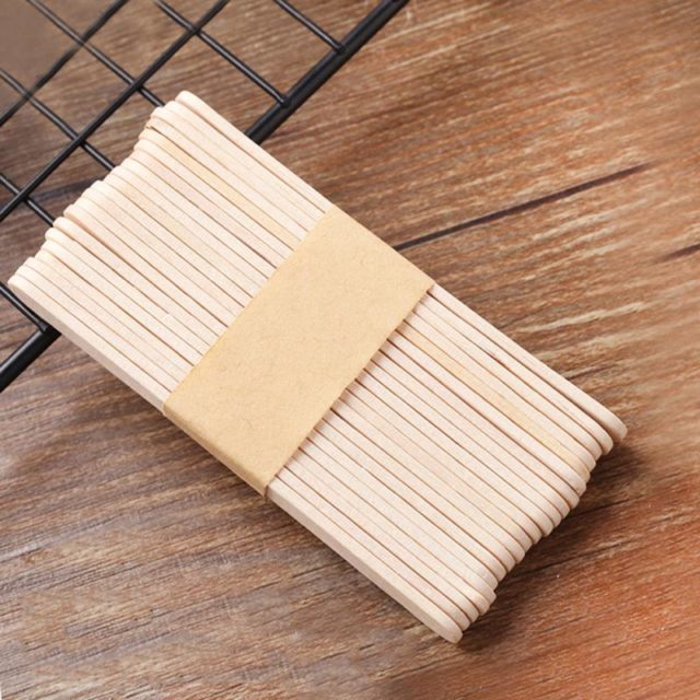 50Pcs Wood Ice Lolly Stick Natural Wooden Ice Cream Sticks Kids Hand Craft Making DIY Popsicle Sticks Tools Kitchen Accessories