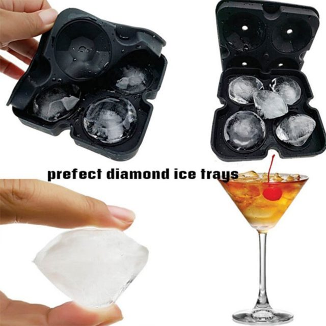 4 Grids Diamond Pattern Ice Cube Tray Reusable Ice Cubes Maker Silicone Ice Cream Molds Chocolate Mold Whiskey Party Bar Tools