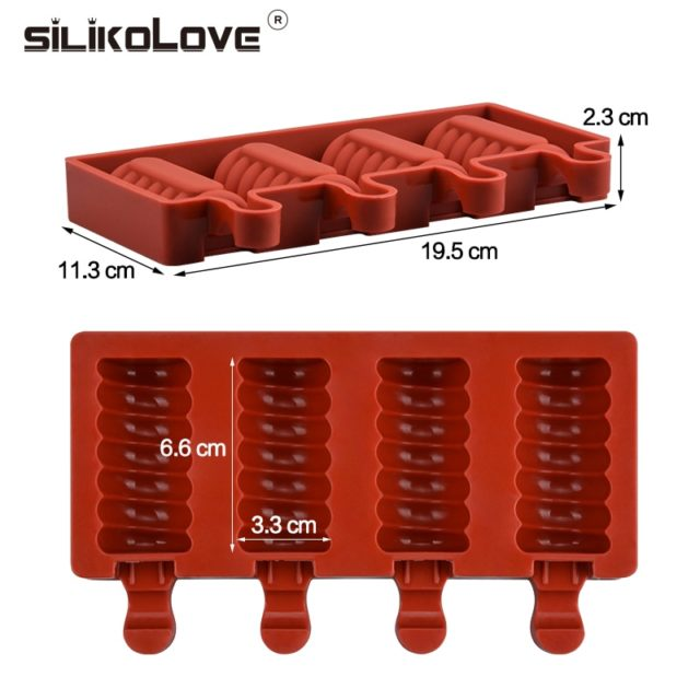 SILIKOLOVE 4 Cavities Ice Cream Mold  DIY Kithchen Homemade Ice lolly Moulds With Popsicle Sticks BPA Free Easy to clean