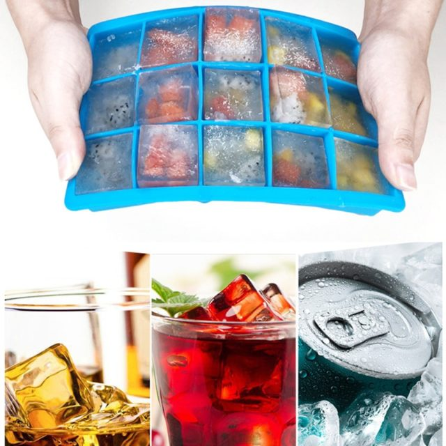 24 Grids Eco-Friendly Silicone Mold Home Bar Ice Cube Tray With Lid Small Fruits Ice Cubes Maker Making Sweet Ice Cream Molds