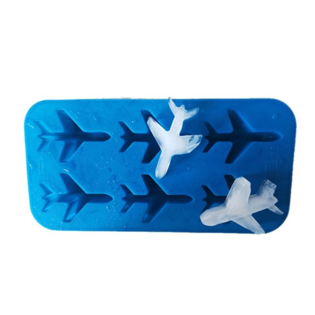 3D Blue Silicone Airplane Ice Mold Whiskey Wine Cocktail Juice Silicone Ice Cube Tray Maker Fondant Chocolate Mould Bar Tools