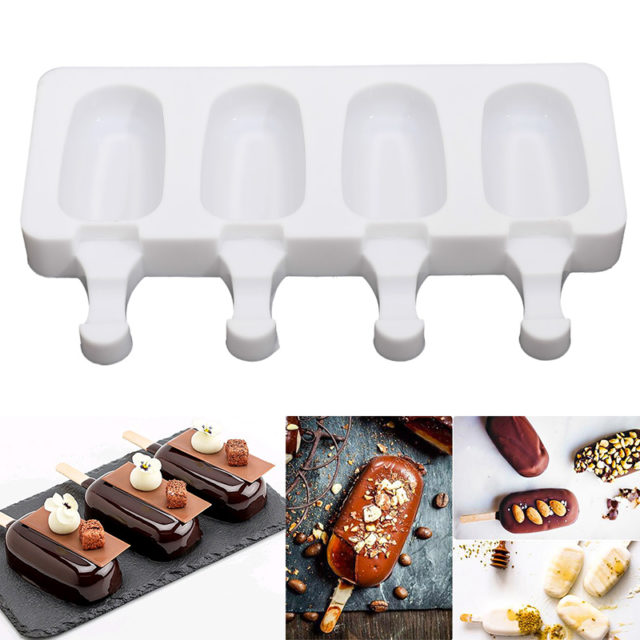 2 Sizes Homemade Ice Cream Molds 4 Cavities Silicone DIY Popsicle Mold Making Tool Juice Dessert Maker With 10 Popsicle Sticks
