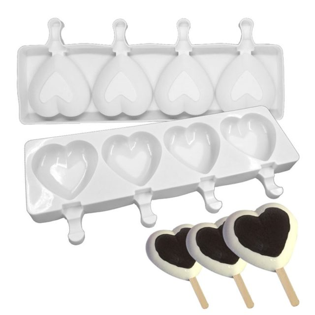 Silicone Ice Cream Mold 4 Hole Funny Popsicle Mold Ice Cream Mould DIY Candy Chocolate Soap Jelly Moulds Tray With 10pcs Sticks