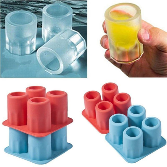 4 Cup Shape New Freeze Mold Bar Tool Rubber Bear Cool Shooters Ice Cube Shot Glass Bar Party Drink Ice Tray Shape Legal Ice