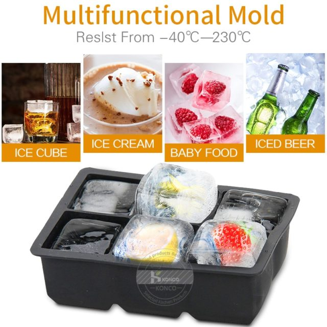 Konco 3d magic large silicone ice cube maker mold Square DIY Fruit ice Maker Kitchen Bar Drinking Accesoriess ice cream mold