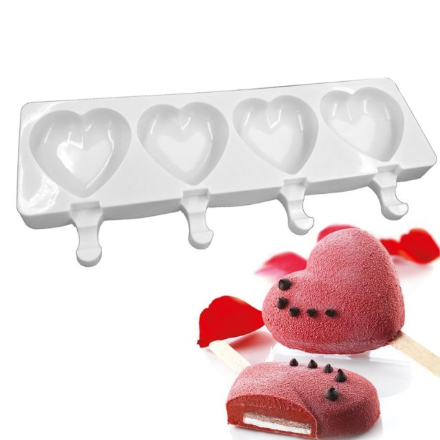 Silicone Ice Cream Mold 4 Holes Heart Shaped Popsicle Molds oulds Freezer Ice Maker Chocolate Dessert Mould