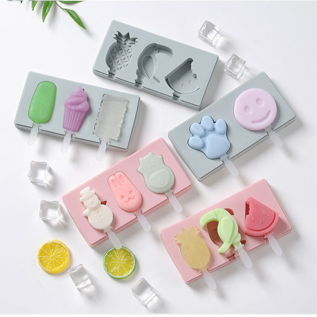 Cute ice cream mold with lid Silicone Homemade Popsicle mold handmade DIY ice-sucker mould