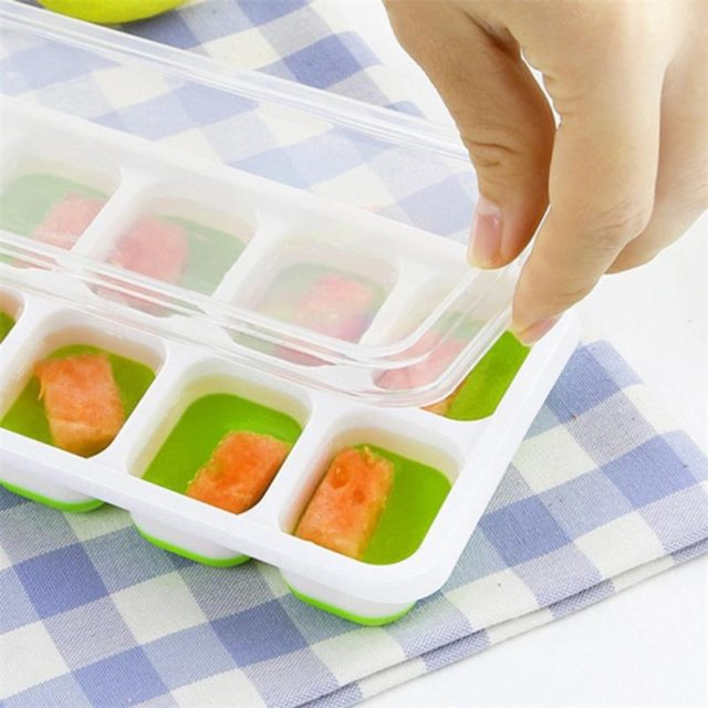 14 Grids Summer Ice Cube Mold Tray Plastic Freezing Ice Box Fruit Jelly Maker Mould With Cover Lid Flexible Mold Plate #LR1