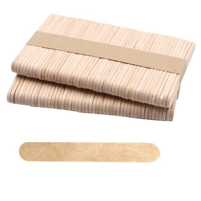 50Pcs/Lot Colored Wooden Popsicle Sticks Natural Wood Ice Cream Sticks Kids DIY Hand Crafts Art Ice Cream Lolly Cake Accessories