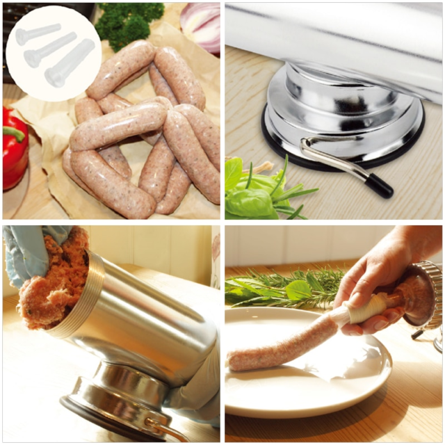 1.0kg / 2 lbs  homemade sausage meat maker with suction base and 3 sausage filling funnels making sausages