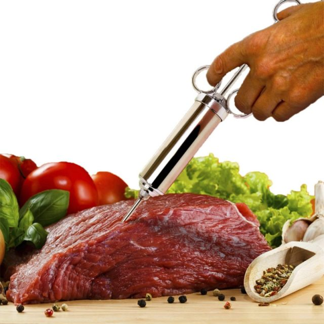 Grill 2-oz Marinade Seasoning Injector Turkey Meat Injectors Stainless Steel Cooking Syringe Injection with 3 Needles