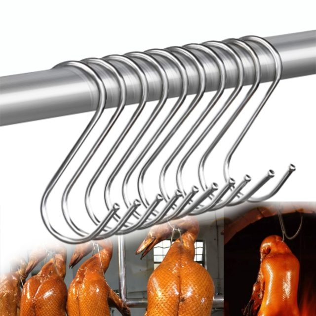 S Hook Metal Stainless Steel Iron Barbecue Iron Hook Hanging Sausage Hanging Turkey Hanging Roast Duck Meat Tool Home
