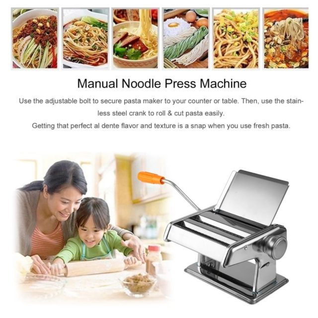Stainless Steel Manual Noodle Press Machine Household Multifunctional Dumplings Wonton Skin Rolling Machine with Hand Crank