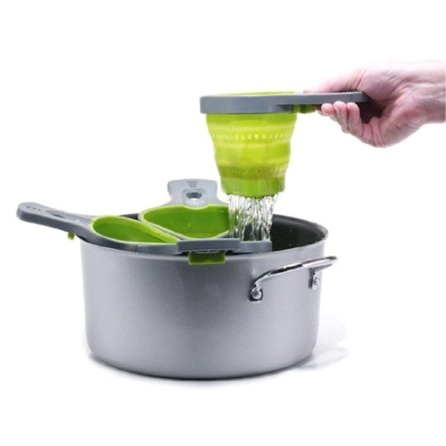 1Pcs Pasta Tools Foldable Silicone Colander Strainers Kitchen Strainer Spaghetti Net Cooker Basket Colander Kitchen Baking Tools