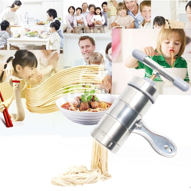 Stainless Steel Household Manual Noodle Maker Machine Noodle Press Pasta Cutter With 2/5 Pressing Moulds Spaghetti Pasta Tools