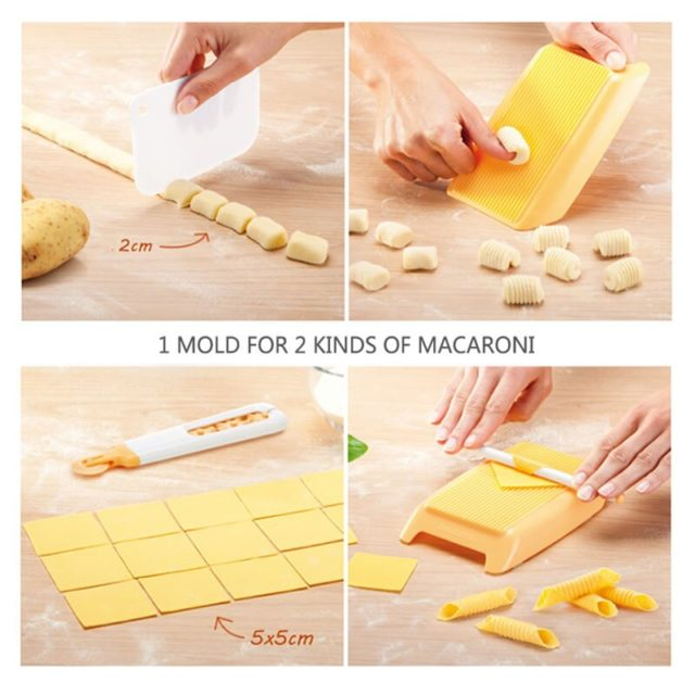 1pc DIY Noodle Machine Maker Dough Roller Pasta Gnocchi Maker Pasta Machine Kitchen Gadget Plastic Macaroni Spaghetti Board