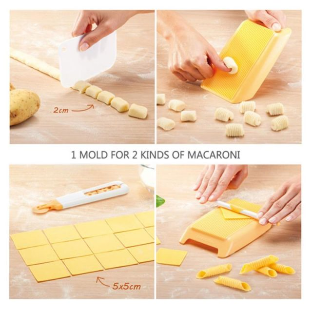 Plastic Pasta Macaroni Board Spaghetti Macaroni Pasta gnocchi Maker Rolling Pin Baby Food Supplement Molds Manual Kitchen Tool