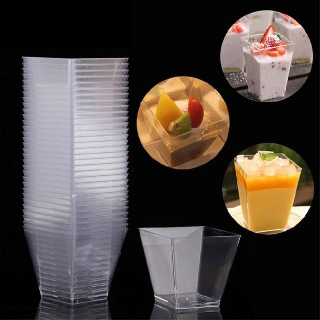 20pcs Mini Clear Trapezoid Dessert Cups Kitchen Accessorie Glasses Cup Mousse Jelly Pudding Tiramisu Cup Party Cake Container