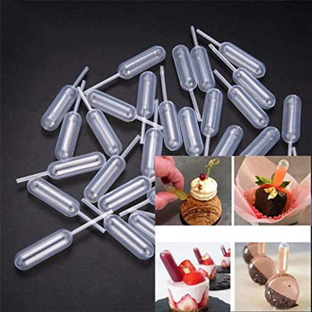 50Pcs 4ml Plastic Pipettes Cupcakes Infuser Tubes for Ice Cream Jelly Milkshake Straw Droppers Disposable Kitchen Baking Tools