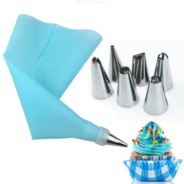 8 Piece Set Cake Tools 6 Stainless Steel Nozzles And Silicone EVA Pastry Bag Converter