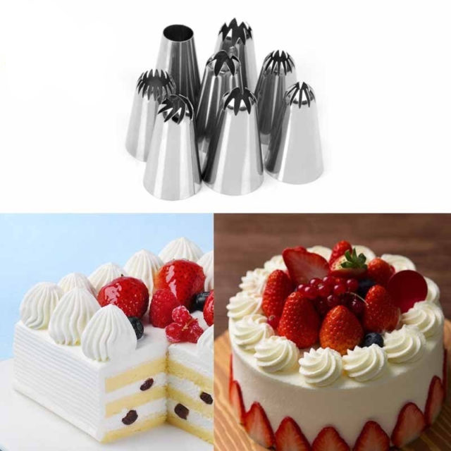 Delidge 8 pcs/set Large Size Cake Nozzle Kitchen Accessories Cream Icing Piping Fondant Rose Nozzle Decorating Tools