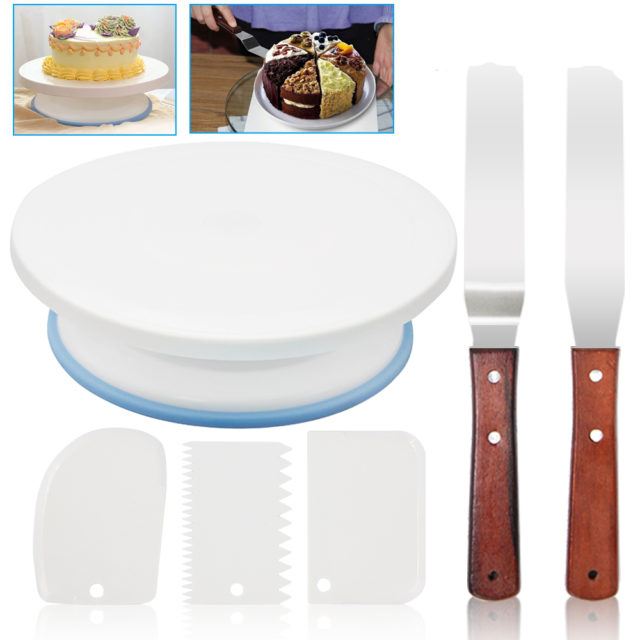 Plastic Cake Turntable Rotating Plastic Dough Knife 10 Inch Decorating Cream Cakes Stand set Cake Rotary Table Baking Tool