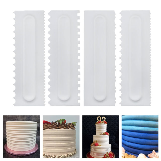 4Pcs/Set Cake Decorating Comb Cake Scraper Smoother Cream Decorating Pastry Icing Comb Fondant Spatulas Baking Pastry Tools