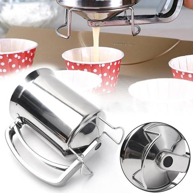 Handheld Pancake Batter Dispenser Without Lid Stainless Steel Professional Funnel Kitchen Tool For Baking Cake Cupcakes
