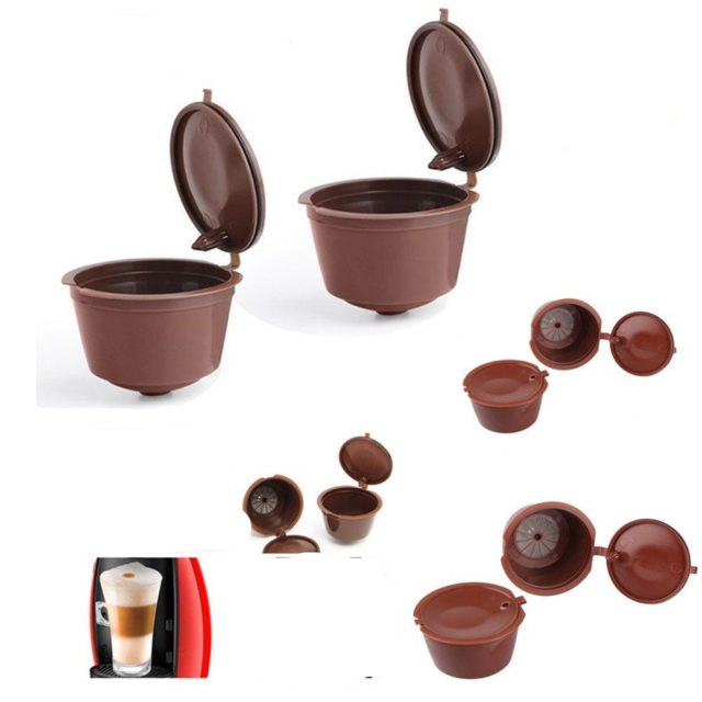 3 Pcs Reusable Nescafe Dolce Gusto Coffee Capsule Filter Cup Refillable Caps Spoon Baskets Pod Soft Taste Sweet