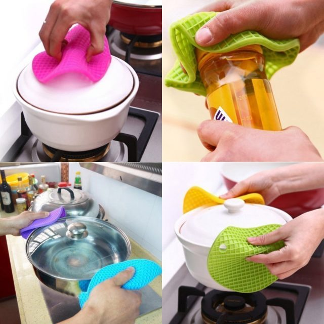 Walfos Nonslip Heat Resistant Kitchen Cooking Hot Pot Cover Holder Pad-silicone Rubber Lid Holder-silicone Trivets Mat